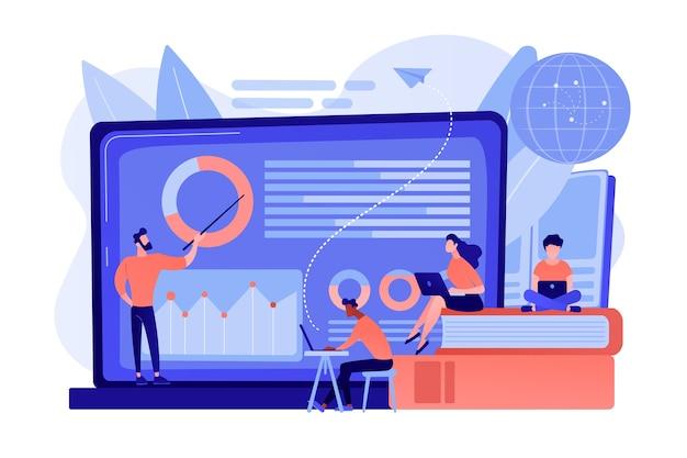 Professor com gráficos ensinando os alunos na tela do laptop e no globo