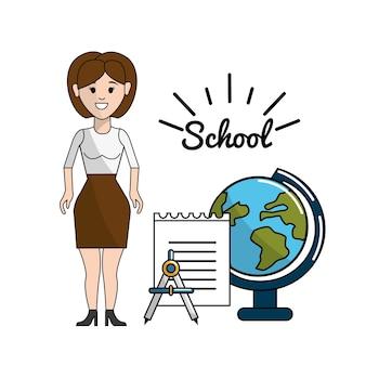 Professor com mesa de papper, bússola e planeta terra