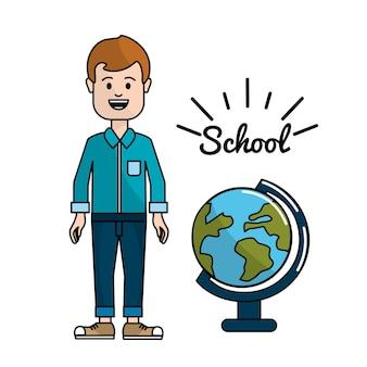 Professor com mesa de planeta terra na escola