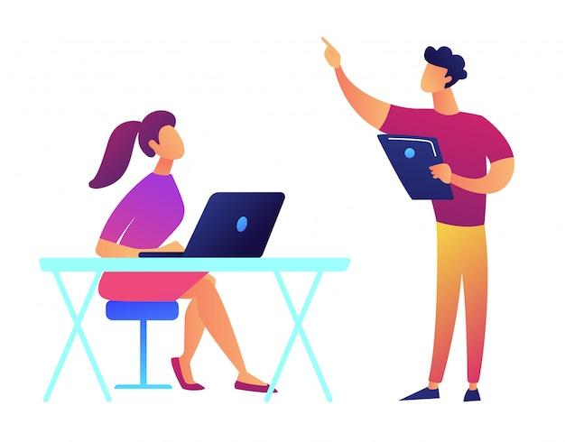 Professor com tablet apontando e estudante com ilustração vetorial de laptop.