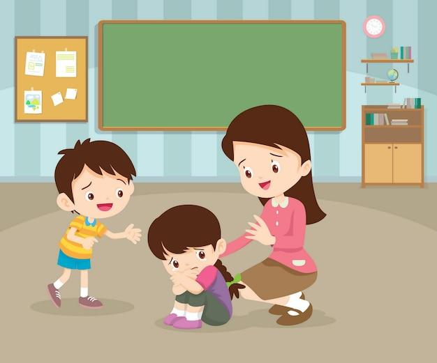 Professor confortando menina triste na sala de aula