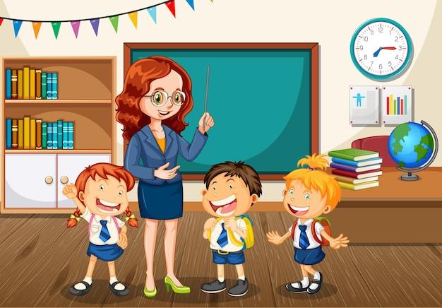 Professor conversando com alunos na cena da sala de aula