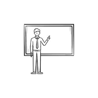 Professor dando explicação ao lado do ícone de doodle de contorno desenhado de mão de quadro-negro. estudante na frente da ilustração do esboço do vetor quadro-negro para impressão, web, mobile e infográficos.