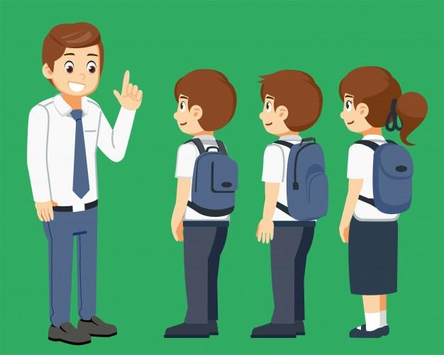 Professor dar conselho acordo ao aluno antes da aula.