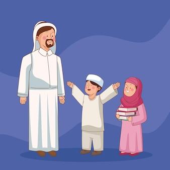 Professor de árabe com pequenos alunos