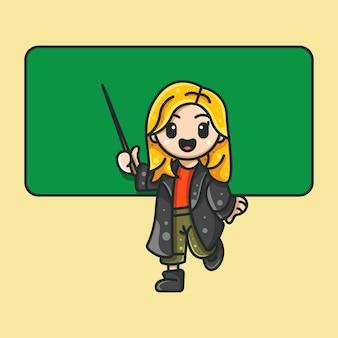 Professor de beleza para ícone de personagem etiqueta do logotipo e ilustração