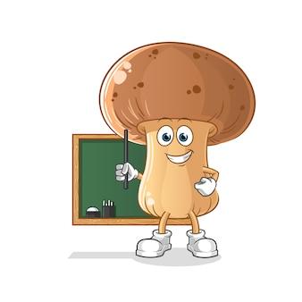 Professor de cogumelos. personagem de desenho animado
