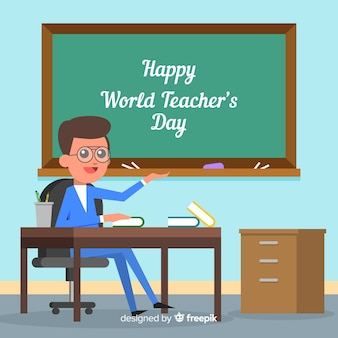 Professor de composição do dia mundial dos professores com lousa