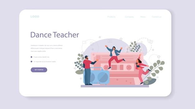 Professor de dança ou coreógrafo no banner da web ou página de destino do estúdio de dança