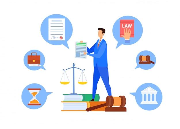 Professor de direito comum, personagem de vetor de professor