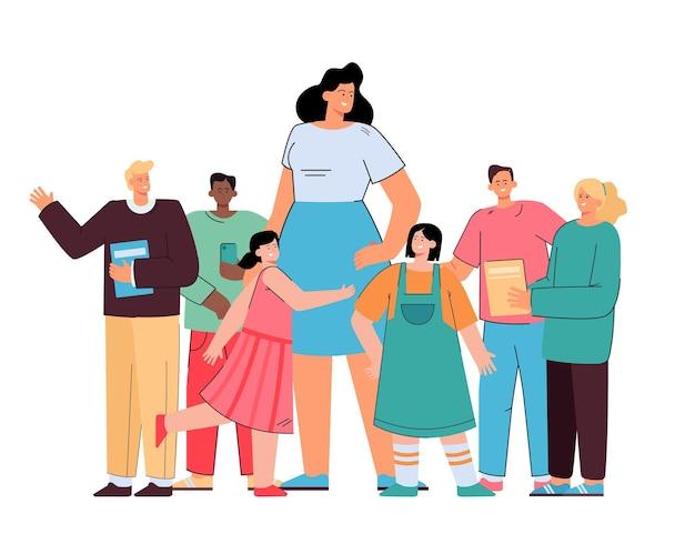 Professor de escola feliz em pé com os alunos ilustração plana