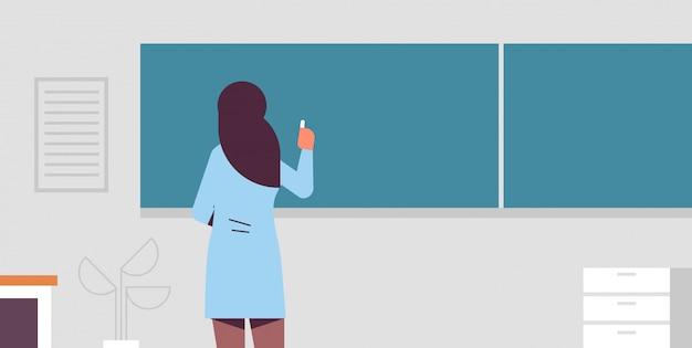 Professor de escola feminino em frente a placa de giz verde vista traseira mulher em roupas tradicionais, escrevendo no conceito de educação quadro moderno sala de aula retrato interior horizontal