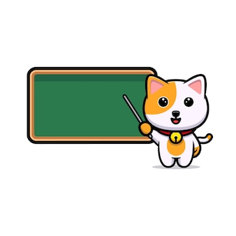 Professor de gato fofo com mascote de desenho de quadro-negro