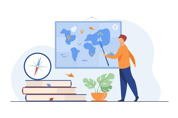 Professor de geografia em sala de aula