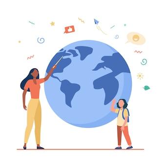 Professor de geografia explicando lição para aluno. mulher com ponteiro e menina na ilustração plana do modelo do planeta.