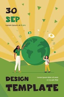 Professor de geografia explicando lição para aluno. mulher com ponteiro e menina no modelo do planeta flat flyer template