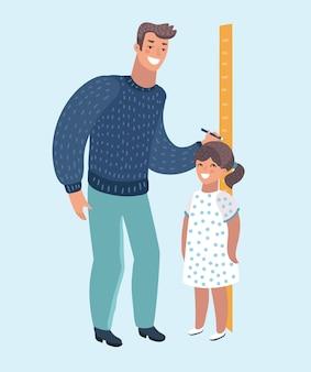 Professor de jardim de infância ou pai medindo a altura da menina com graduações pintadas na parede