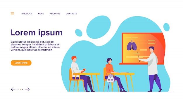 Professor de medicina apresentando infográficos de órgãos ao público