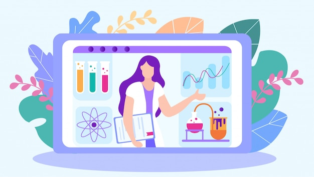 Professor de química lidera a lição online.