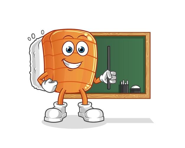 Professor de sushi. personagem de desenho animado