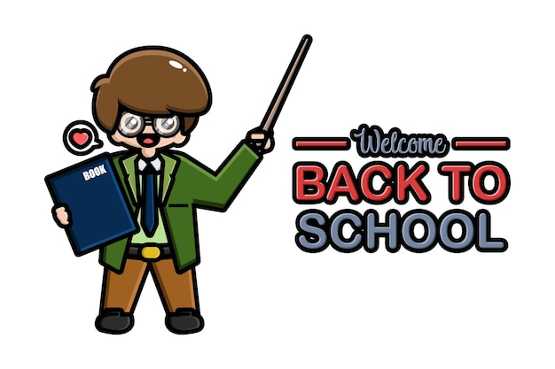 Professor de volta à escola banner com livro