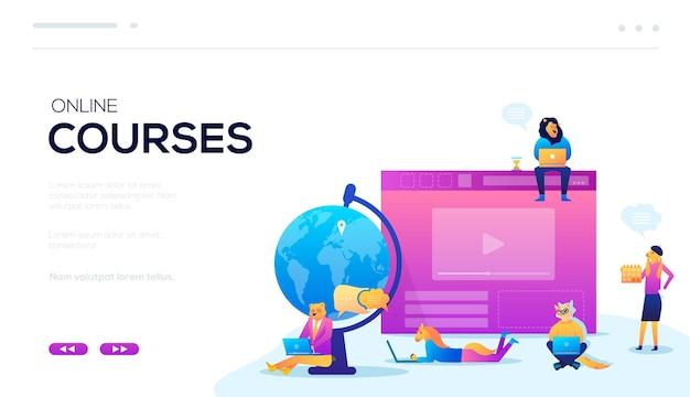 Professor de web banner de qualquer lugar do mundo. imagem vetorial aprendizagem on-line sentado em casa design.