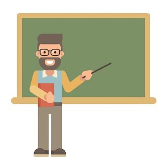 Professor do sexo masculino com um livro e um ponteiro perto de um quadro negro