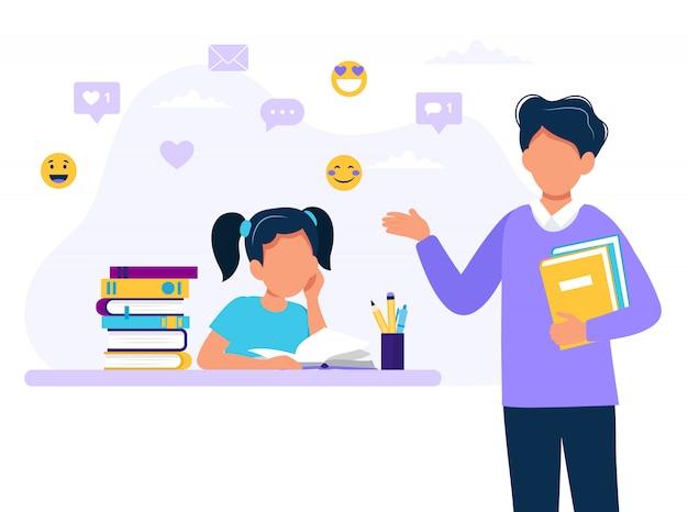 Professor do sexo masculino e menina estudando.