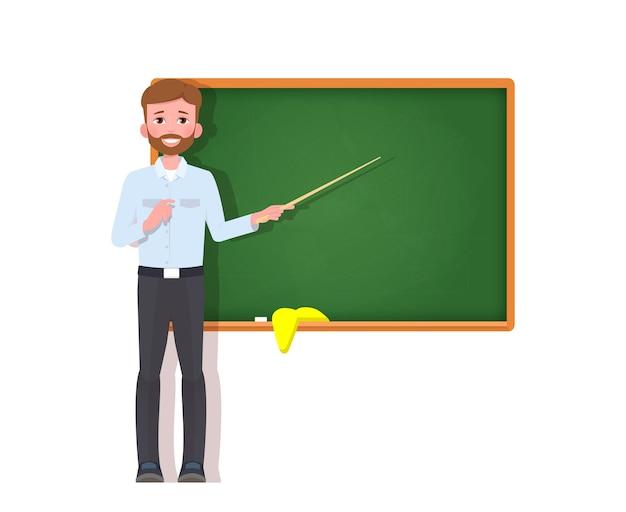 Professor do sexo masculino no quadro-negro.