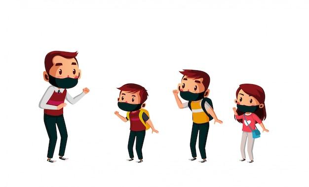 Professor e aluno fazendo distanciamento físico na escola durante o novo normal