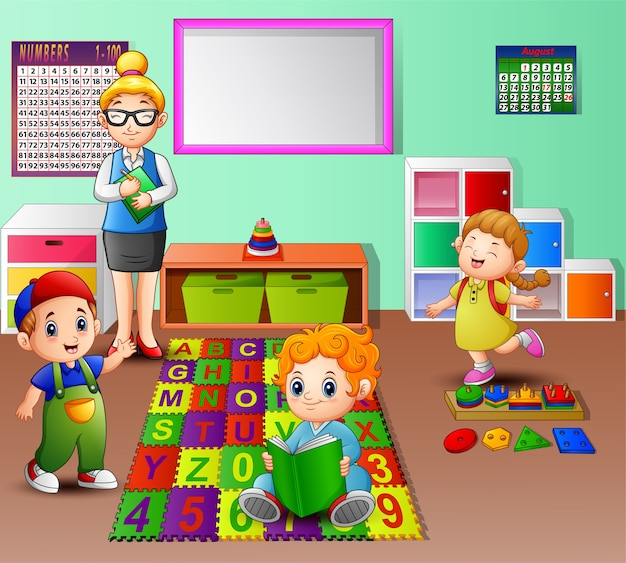 Professor e aluno na sala de aula do jardim de infância