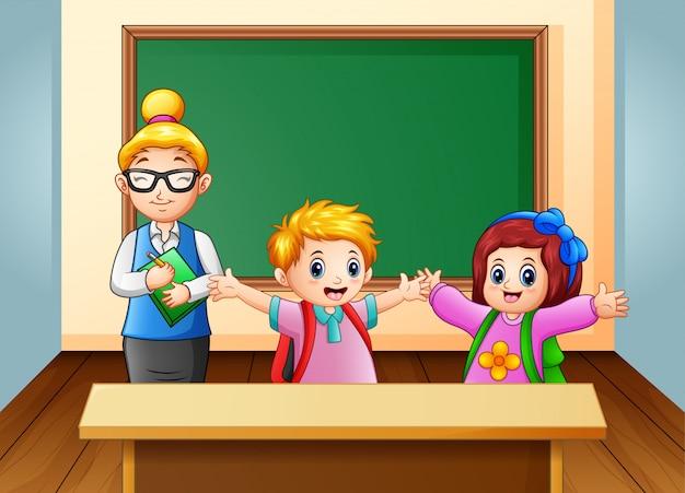 Professor e aluno na sala de aula