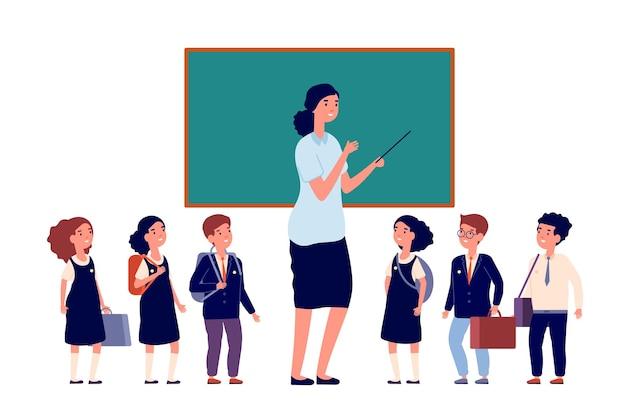 Professor e alunos. alunos do ensino fundamental. jovem perto de ilustração do vetor de meninas de meninos de lousa e pré-escola ou classe primária. professor em sala de aula perto do quadro-negro