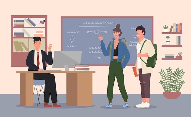 Professor e alunos de escola ou universidade em sala de aula homem professor sentado à mesa