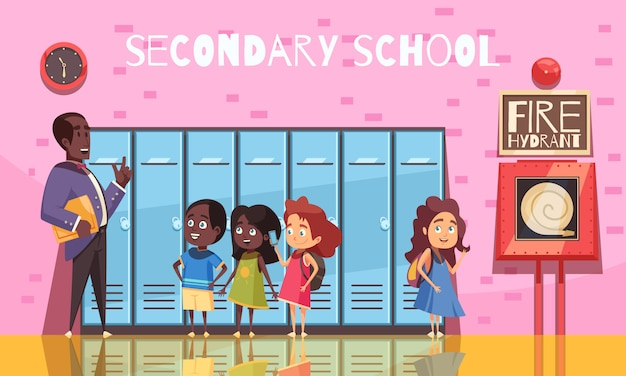 Professor e alunos do ensino médio durante a conversa no fundo da parede rosa com armários dos desenhos animados