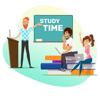 Professor e alunos inteligentes estudam o cartaz do tempo