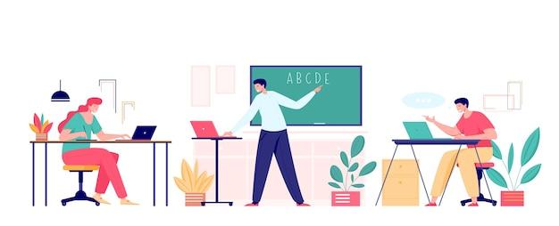 Professor e alunos se encontrando em aula online com laptops Vetor Premium