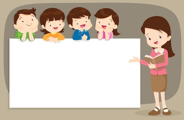 Professor e crianças boyand menina com banner