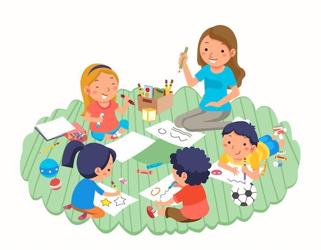 Professor e crianças desenhando enquanto brincava no jardim de infância e brinquedos em torno deles ilustração