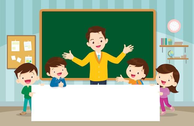 Professor e crianças menino e menina com letreiro