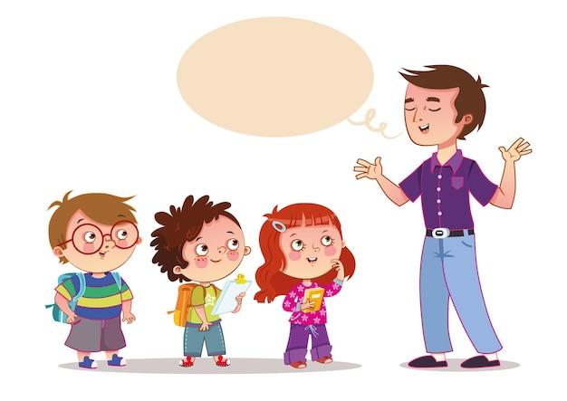 Professor e seus alunos ilustração vetorial