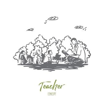 Professor, educação, conhecimento, conceito de lição. mão desenhada professor e alunos sentados esboço conceito ao ar livre.