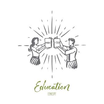 Professor, educação, escola, conhecimento, conceito de lição. esboço de conceito de professores de escola masculina e feminina desenhada mão.