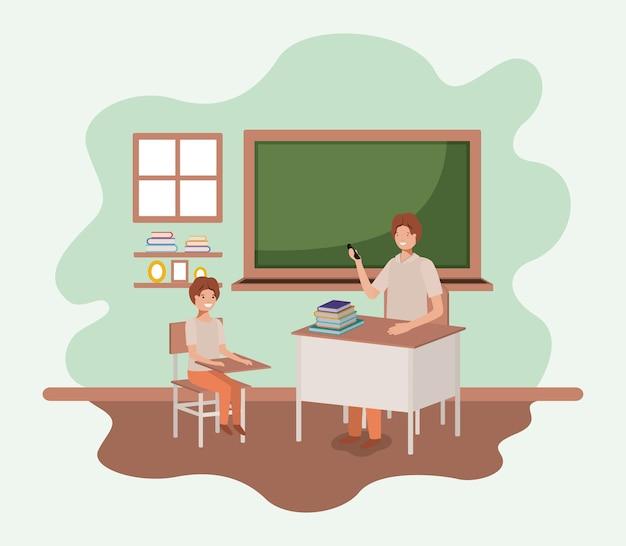 Professor, em, sala aula, com, estudantes, vetorial, ilustração, desenho