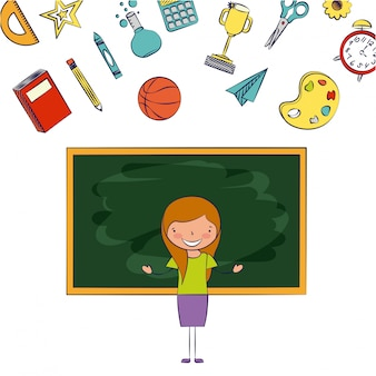 Professor em sala de aula com ilustração de elementos de escola