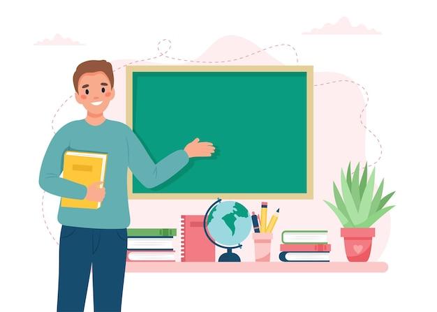 Professor em sala de aula escola e conceito de aprendizagem dia do professor