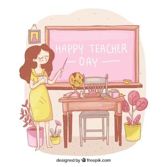 Professor em um vestido amarelo na sala de aula