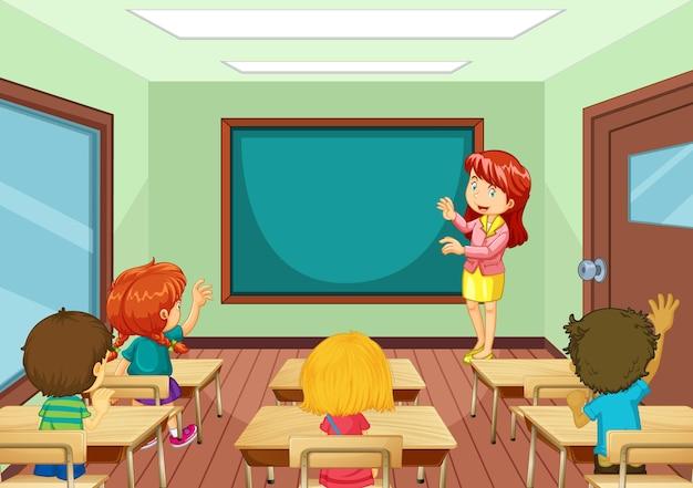 Professor ensinando alunos na cena da sala de aula