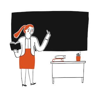 Professor ensinando no quadro negro.