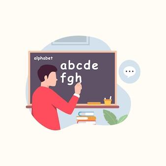 Professor escrevendo alfabeto em ilustração vetorial de quadro-negro